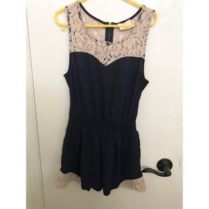 UO lace navy jumpsuit xs